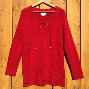 Liz Claiborne Vibrant Tied Red Sweater